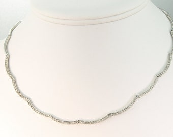 Vintage!! 14K White Gold Necklace with One Carat of Diamonds