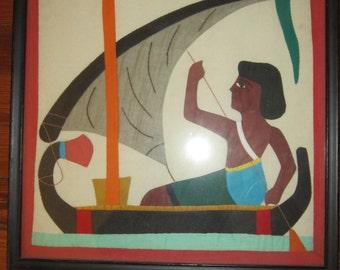 Vintage 60s Folk Art Hand Stitched Pieced  Egyptian Boy Felucca Boat Art Framed with Glass original