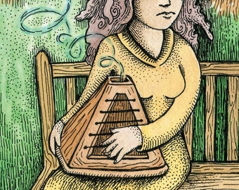 "PRINT of artist trading card  ""Pyrastrum"" by Poxodd ~ ACEO,  ATC, music, fantasy instrument, woman in a park strumming a song"