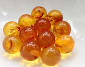 1 Baltic Amber 10mm sphere, Genuine Amber! undrilled amber ball, Amber Marble, cage jewelry, wire wrapping, butterscotch Amber ~ NO HOLE