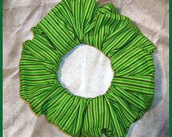 St. Patrick's Day Green Stripe Hair Scrunchie, Fabric Ponytail Holder, Hair Tie