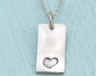 skinny MINI HEART pendant, eco-friendly silver or nickel free white bronze or 24 kt dipped.  Handcrafted by Chocolate and Steel
