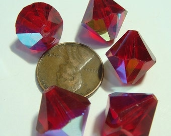 RED BICONE AB Beads (20) 14 mm Vintage Aurora Borealis 14mm  MoRE AVAlLABLE jc bead14abbc