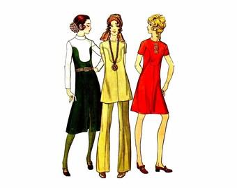 1970s Jewel Neck Dress Pants Butterick 5991 Vintage Sewing Pattern Half Size 16 1/2 Bust 39