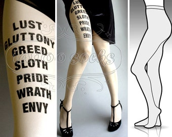 Large/Extra Large 7 Deadly Sins tights / stockings full length pantyhose Ultra Pale
