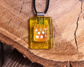 Yellow Fused Dichroic Glass Stack Pendant