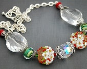 50 PERCENT OFF Christmas Flowers Necklace, Lampwork Beads, Red, White, Green, Christmas, Holiday Party, Bold