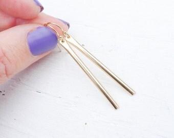 Long Gold Bar Earrings Linear Drop Earring Vertical Bar Earings Gold Stick Earings Straight Earrings Modern Jewelry Dangle Drops