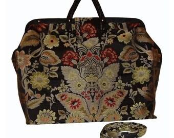 Red & Black Floral Medallion Tapestry Carpet Bag
