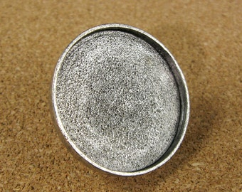 Large Circle Screw Back Bezel Frame Tray Antiqued Sterling Silver Finish