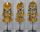 R E S E R V E D 1960s coat / shearling / swing coat / TAPESTRY belted coat