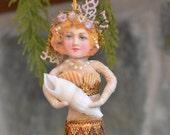 Spun Cotton Mermaid Ornament Victorian Inspired OOAK Sea Folk Art Vintage Craft