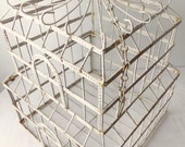 Vintage Bird Cage White Metal, Decorative Birdcage, Wedding Card Holder, Cottage Chic Home Decor