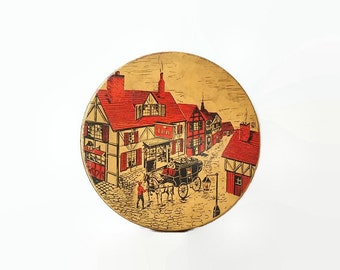 Vintage Small Cookie Tin Tudor Village Scene, Horse Carriage, Red, Beige and Black Tin Litho