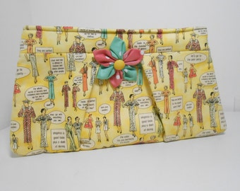 Pleated Clutch with Kanzashi Flower Brooch Tres Chic Vintage Workshop Yellow