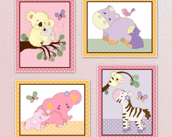 Set of Four Pink/Yellow/Purple Jungle Tropical Nursery Wall Art Prints/Posters. Made to Match tropical punch. Cute! 3 sizes available!