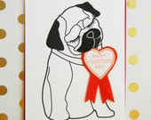 Happy Valentine's Day Mimi the Pug Dog with Heart Badge Felt Applique  Ribbon Note Card with Envelope