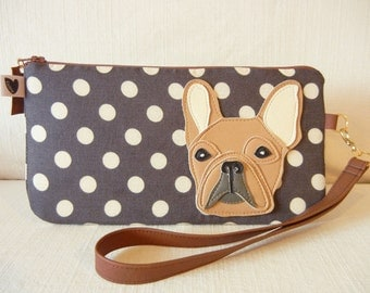 Nuri the French Bulldog Dark Charcoal Grey Polka Dots Wristlet Carry-all Zipper Case with Vinyl Applique
