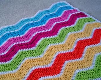 Baby Chevron Blanket Blue, Pink, Yellow, Green, Orange and White Ready to Ship