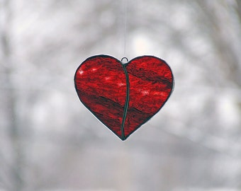 OOAK Handcast Glass Heart from Uroboros Glass, vintage glass