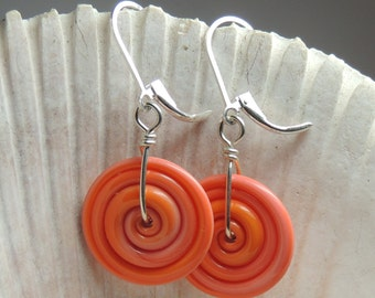 CREAMCICLE SWIRL Handmade Lampwork Dangle Earrings