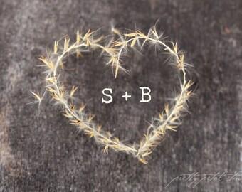 Fine Art Photograph, Golden Heart, Nature, Wish, Initials in a Heart, Love Print, Engagement, Marriage, Valentine, Romantic Art, Small Art