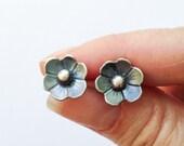 Sterling Silver Small Wild Flower Post Earrings, Minimalist Handcrafted Silversmith Earrings, Casual Everyday Earrings, Flower Lover Gift