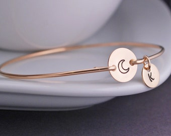 Moon Bracelet, Gold Moon Jewelry, Gold Bangle Bracelet, Hand Stamped Bracelet, Personalized