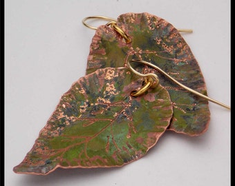 COPPER LEAVES - Handforged Patinated Engraved Copper Leaf Earrings