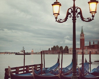 "Venice Print, Venice Gondolas at Sunrise, Italy Photograph, Lamp Post, Romantic Art, Blue Fine Art Photography, ""Adagio"""
