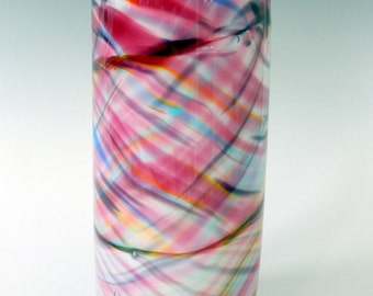 Watercolor Rainbow Hand Blown Art Glass Vase by Rebecca Zhukov
