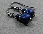 Lapis Earrings Petite Earrings Geometric Jewelry Oxidized Sterling Silver Earrings