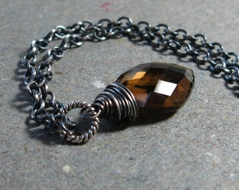 Whiskey Quartz Necklace Gemstone Pendant Necklace Geometric Jewelry Diamond Shape Wire Wrapped Oxidized Sterling Silver Necklace