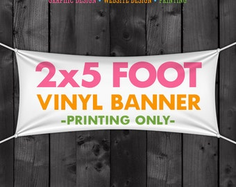 Vinyl Banner Printing, Full Color, 2x5 Foot Craft Show Banner, Trade Show, Sign