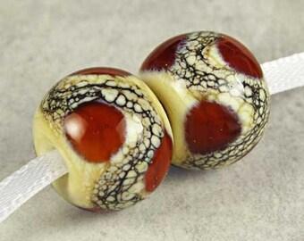 Amber Brown Lampwork Glass Beads, Lampwork Bead Pair,  Handmade Lampwork, Brown Glass Beads, 2 Glossy 14x11mm Root Beer Float