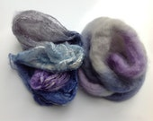 Mawata Silk Hankies Scarf Kit with 50/50-  BFL - Polwarth - or - Merino/Tussah Silk Roving - Rio