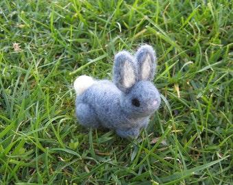 Needle Felted Gray Bunny Miniature Figure