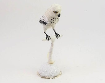Vintage Inspired Spun Cotton Snowy Owl on Perch Figure