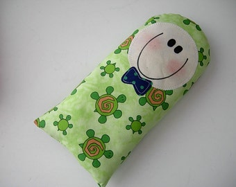 SOFTIE - HANDMADE gift - Pillow Baby - pillow doll BOY Green Turtle - baby toy - toddler - next day ship