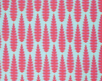 Anna Maria Horner Pretty Potent Aloe Vera Print cotton fabric candy red and aqua blue by the yard