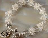 50% OFF - Rock Crystal Rainbow Moonstone Cluster Bangle Style Silver Bracelet