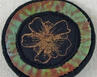 Anemone flower brooch, shibori flower brooch, hand dyed, screenprinted, black, blue green, copper print,flower accessory,wearable art