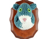 crocheted teal squirrel head, faux taxidermy, wall hanging, humorous home decor