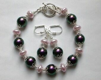 Purple Bracelet and Earring Set, Purple and Pink Bracelet in Silver