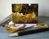 Full Moon Fox, illustrated blank card,  full moon, nature rustic, glossy finish