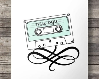 I made you a mix tape - 1980s Cassette Printable wall art - cassette art - Wall Print, Wall Decor, Cassette Tape, Mix Tape, Music art print