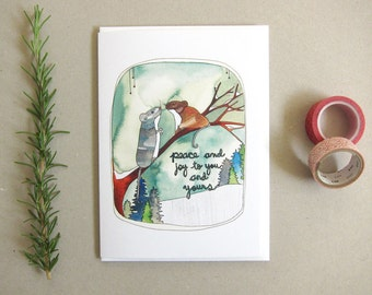 SALE -Holiday Card - Blank Card - Christmas Card - Happy Holidays Card - Peace and Joy - Woodland Christmas - Peace and Joy to You and Yours