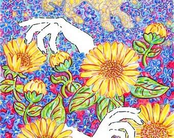 Art Print, Astrology, Zodiac, Leo, Lion, Sunflower, Stars, Bohemian, Cosmic, Mudra, Hand, Animal Art, Mystical, Wall Art, Gift, Nature, Blue