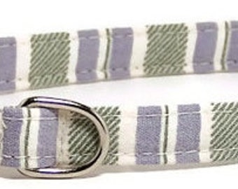 XS Dog Collar - Soft Preppy Stripes - Extra Small, Teacup, Miniature - Fancy, Soft and Handmade