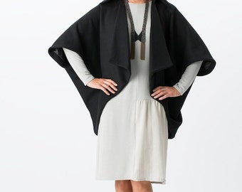 Black Wool Kimono Jacket - in stock